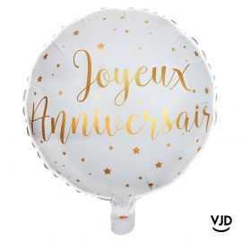 Ballon aluminium 45 cm Joyeux anniversaire blanc et or