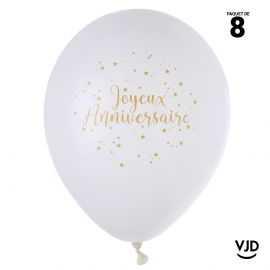 Ballon 23 cm Joyeux anniversaire blanc et or