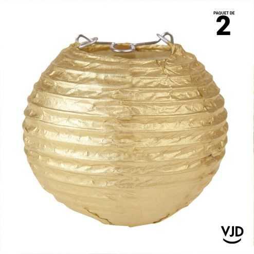 2 mini-lanternes papier or métallisées. 7,5 cm