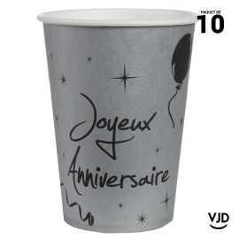 10 gobelets carton Joyeux anniversaire argent et noir. 20 cl.