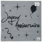 20 serviettes Joyeux anniversaire argent et noir. 33 x 33 cm