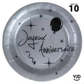 10 assiettes carton ronde Joyeux anniversaire argent et noir. 22,5 cm
