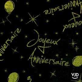 Nappe Joyeux Anniversaire Noir et vert. 250 cm