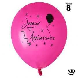 Ballon 23 cm Joyeux anniversaire fuchsia et noir