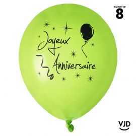 Ballon 23 cm Joyeux anniversaire vert et noir