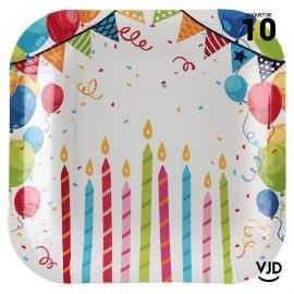 10 assiettes carton carrées Carnaval Arlequin multicolore 18 cm