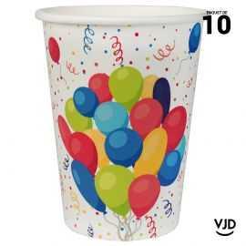 10 gobelets carton Carnaval Arlequin Joyeux anniversaire