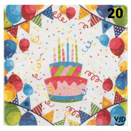 20 serviettes Carnaval Arlequin multicolore 33 x 33 cm