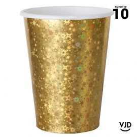 10 gobelets carton étincelant or irisé. 20 cl
