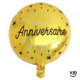 Ballon aluminium 45 cm anniversaire étincelant or