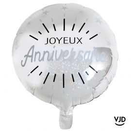 Ballon aluminium 45 cm anniversaire étincelant argent