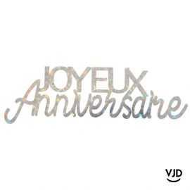 Lettres Joyeux anniversaire étincelant argent irisé. 13,4 cm