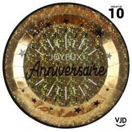 10 assiettes carton rondes anniversaire étincelant or irisé 22,5 cm