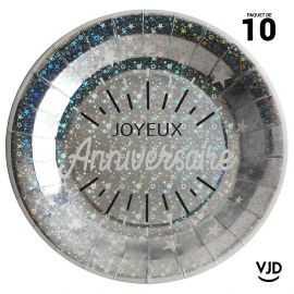 10 assiettes carton rondes anniversaire étincelant argent irisé 22,5 cm