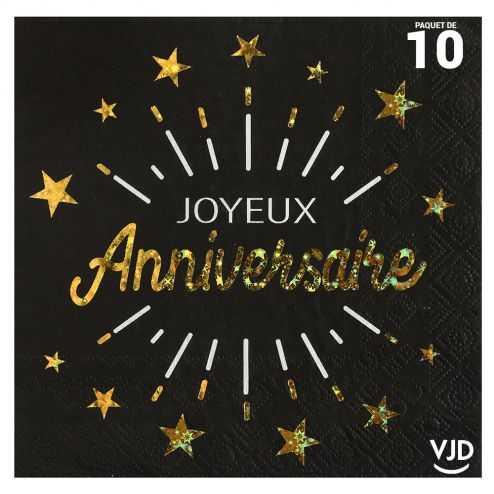 10 serviettes anniversaire étincelant noir et or 33 x 33 cm