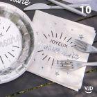 10 serviettes anniversaire étincelant blanc et argent 33 x 33 cm