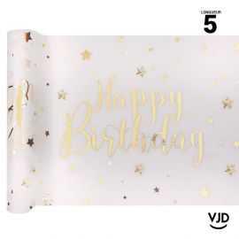 Chemin de table Happy Birthday métal blanc et or. 5 mètres