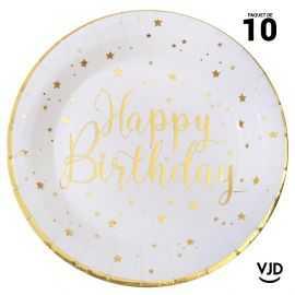10 assiettes carton rondes Happy Birthday métal blanc et or. 22,5 cm