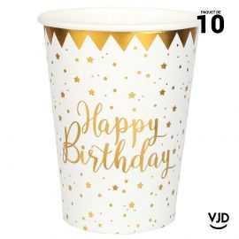 10 gobelets carton Happy Birthday métal blanc et or. 20 cl