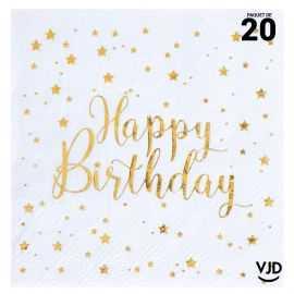 20 petites serviettes Happy Birthday métal blanc et or 25 x 25 cm
