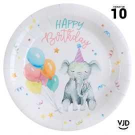 10 assiettes carton rondes Happy Kiddies multicolore. 22,5 cm