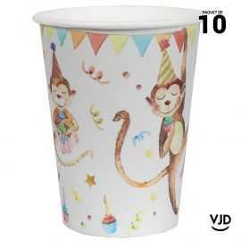10 gobelets carton Happy Kiddies multicolore. 20 cl