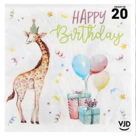 20 serviettes Happy Kiddies multicolore 16,5 cm x 16,5 cm