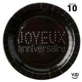 10 assiettes carton rondes Joyeux anniversaire noires. 22,5 cm