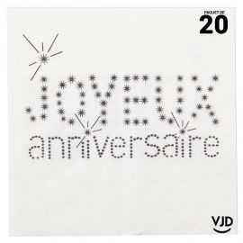 20 serviettes Joyeux anniversaire blanches 33 x 33 cm