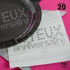 20 serviettes Joyeux anniversaire argent 33 x 33 cm
