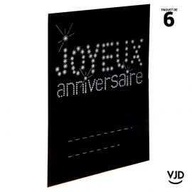 6 marques-places carton Joyeux Anniversaire noir