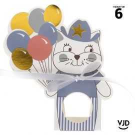 6 boîtes Kitty party bleu 12,5 cm