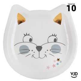 10 assiettes carton carrées Kitty party multicolore 18 cm