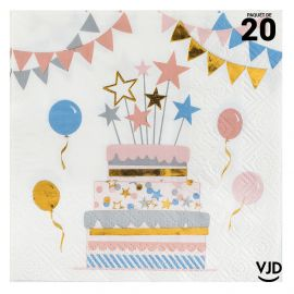 20 petites serviettes Kitty party multicolore. 25 cm x 25 cm