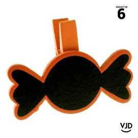 6 ardoises bois bonbons orange sur pince. 5 x 3,7 cm