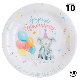 10 assiettes carton rondes Kitty party multicolore. 22,5 cm