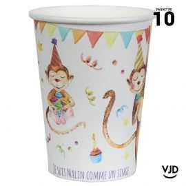 10 gobelets carton Zoo party multicolore. 20 cl