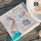 20 serviettes Zoo party multicolore. 33 x 33 cm