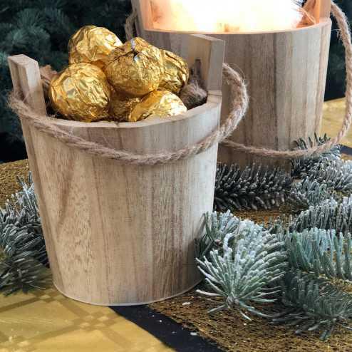 Lot de 2 seaux en bois naturel centre de table