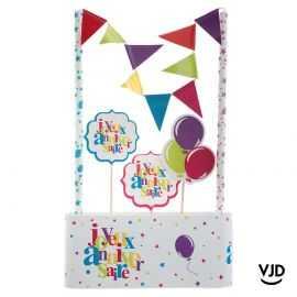 Kit décoration gâteau Anniversaire festif multicolore