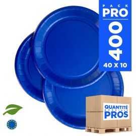 400 Assiettes carton 22cm Biodégradables bleu marine