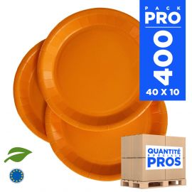 400 Assiettes carton 22cm Biodégradables orange