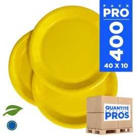 400 Assiettes carton 22cm Biodégradables jaunes