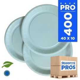 400 Assiettes carton 22cm Biodégradables bleu pastel