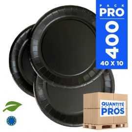 400 Assiettes carton 22cm Biodégradables noires