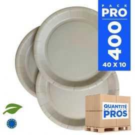 400 Assiettes carton 22cm Biodégradables grises