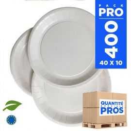 400 Assiettes carton 22cm Biodégradables blanches