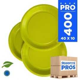 400 Assiettes carton 22cm Biodégradables vert anis
