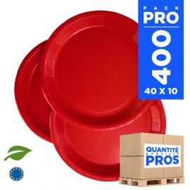 400 Assiettes carton 22cm Biodégradables rouges