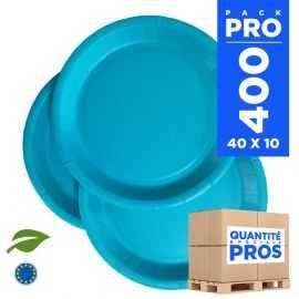 400 Assiettes carton 22cm Biodégradables turquoise